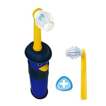 Kids Electric Toothbrush 2 heads included Battery Powered with Bi-directional Brush Head Cleans Six Sides of Children's Teeth in 30 Seconds (for children age 7-14, blue)