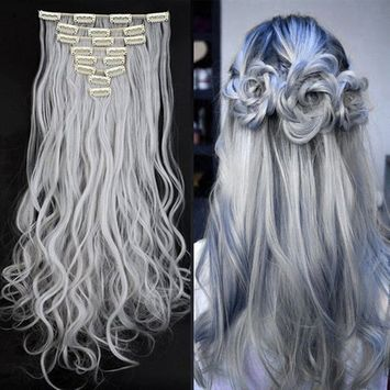 Synthetic Hair Extensions Clip on Japanese Kanekalon Fiber Hairpieces Full Head Thick Long Wavy Curly Soft Silky 8pcs 18clips for Women Girls Lady Fashion and Beauty 24'' / 24 inch