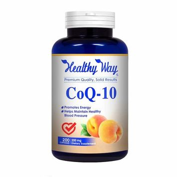 Healthy Way Pure CoQ10 200mg 200 Capsules Supports Healthy Heart & Healthy Blood Pressure - NON-GMO USA Made 100% Money Back Guarantee - Order Risk Free!