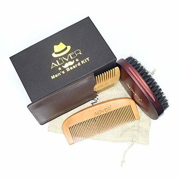 Beard Brush and Beard Comb kit - 100% Natural Sandalwood - Beard Grooming & Trimming Set for Styling, Shaping, Growth Gift set