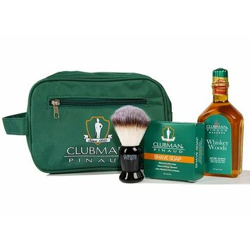 Clubman pinaud shave essentials set, dopp kit with whiskey woods after shave, shave soap, and shave brush