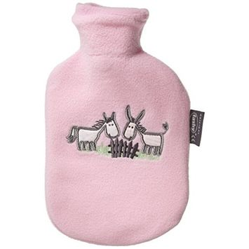 Fashy Rose 0.8L Hot Water Bottle Fleece Covered with Motifs