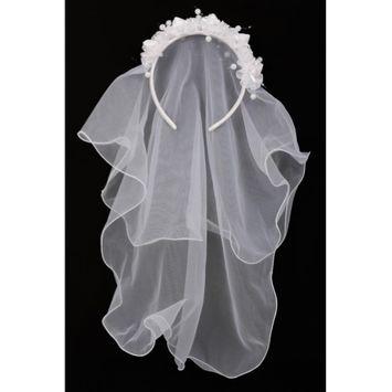Cinderella Couture Girls White Flower Pearl Crown Mesh Short Communion Flower Girl Veil