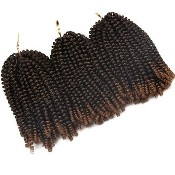 3 Pack Spring Twist Ombre Colors Crochet Braids Synthetic Braiding Hair Extensions 8 Inches 50 Strands/pieces