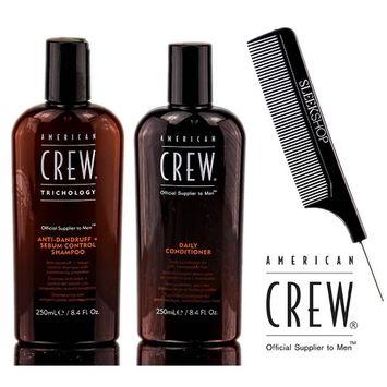 American Crew ANTI-DANDRUFF + Sebum Control Shampoo & Daily Conditioner DUO Set (with Sleek Steel Pin Tail Comb)