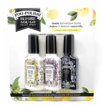 Poo-Pourri Before-You-Go Toilet Spray 3 Variety Pack 4 oz Bottles, Original Citrus, Lavender Vanilla, Royal Flush Scent