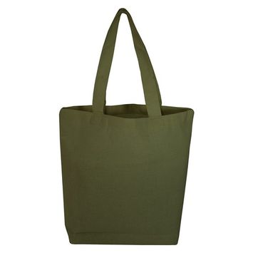 TBF - (3 Pack) Set of 3 High Quality Cotton Tote Bags Wholesale with Bottom Gusset (Army) [name: actual_color value: actual_color-army]