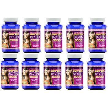 Super Biotin 5000 Maximum Strength For Hair Growth, Skin, and Nails 60 Capsules Per Bottle (10 bottles)