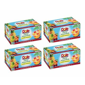 Dole Fruit Bowls, Cherry Mixed Fruit in 100% Fruit Juice, 4 Ounce (12 Cups) (Pack of 3)