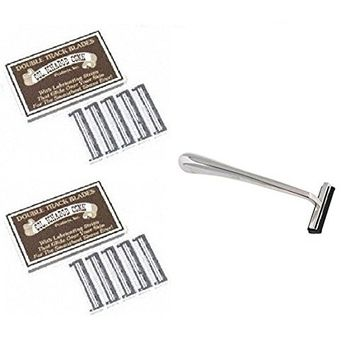 Trac II Chrome Handle + Colonel Ichabod Conk Trac II Razor Blades 10 ct. (Pack of 2) + FREE Travel Toothbrush, Color May Vary