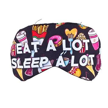 Lux Accessories Junk Food Eat A Lot Sleep A Lot Emoji Kitschy Teen Sleeping Mask