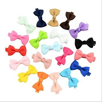 CosCosX 20 Pcs Hair Clips Cute Bowknot Flower Colorful Hair Barrette Hairpin Headdress Bows Accessories for Photography Pops Costume Party Baby Girls Kids Toddler Birthday Gift