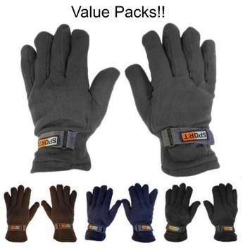 Value Pack Mens Subzeros Sport Fleece Lined Adjustable Warm Winter Gloves