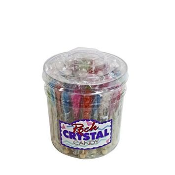 Boone's Mill | Rock Crystal Candy Sticks | Assorted - Red, Pink, Blue and Green | 36 Ct. Tub