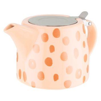 Pinky Up Harper Peach and Copper Ceramic Teapot & Infuser