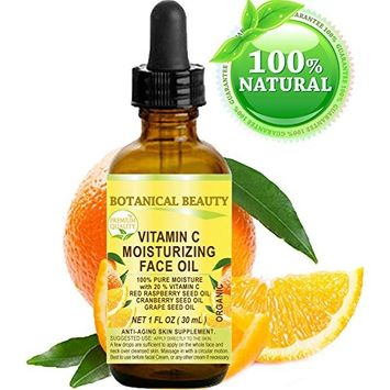 VITAMIN C Moisturizing Face Oil. 20% Vitamin C Red Raspberry Seed Oil Cranberry Seed Oil Grape Seed Oil. 100% Natural Pure Organic. 1 Fl. oz - 30 ml by Botanical Beauty