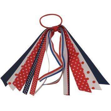 Girls Red Navy White Star Dot Tie Streamer Patriotic Ponytail Holder