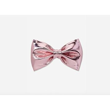Justice Girls metallic bow hair clip Priscilla poly Pink