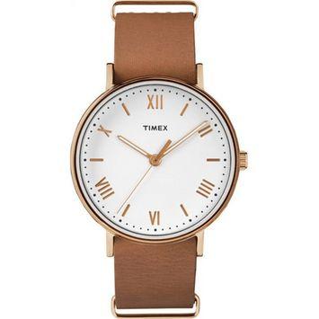Men's Southview 41 White/Rose Gold-Tone Watch, Tan Leather Strap