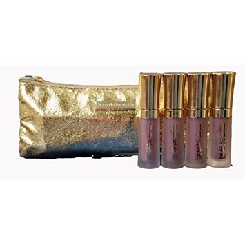 BareMinerals Buxom Mini Full-on Lip Polish in 'Dolly' 2ml/0.07oz - Set of 4 & Gold Make-Up Bag