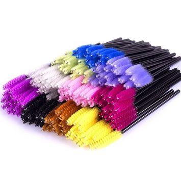 ECBASKET 500PCS Disposable Mascara Wands Applicators Multicolored Mascara Brushes Eyelash Eyebrow Brushes Cosmetic Brush Makeup Tool Kit, 10 colors