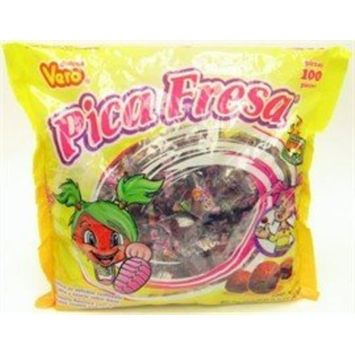 Dulces Vero Pica Fresa Chili Strawberry Flavor Gummy Mexican Candy, 100Piece, 1 LB, 5.15 OZ, Clear [Strawberry/Fresa]