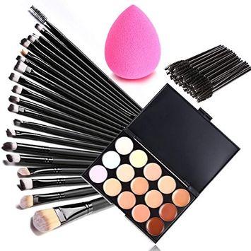 Eshion 70pcs Makeup Brush Set+15Colors Concealer Palette+Puff Sponge Makeup Set Value Pack