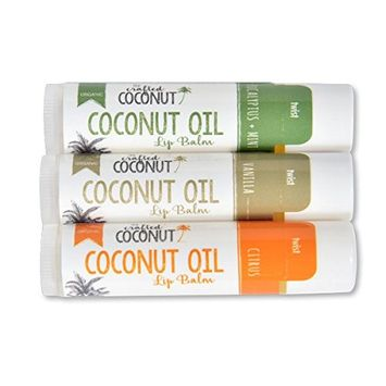 The Crafted Coconut - Organic Coconut Oil Lip Balm | Blended with Essential Oils - Eucalyptus + Mint, Vanilla, Citrus | Trio (3 Tubes in Pack)
