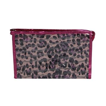 Women Cheetah Printed Cosmetic Clutch Handbag Purse