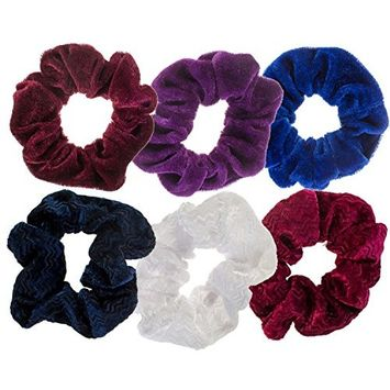 Hairstyling Accessories and Decorations Set / Kit / Lot of 6pcs Hair Scrunchies / Rubber Bands / Hairbands / Bobbles / Elastics / Ponytails Holders / Ties In Different Colors