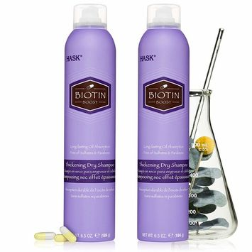 HASK Dry Shampoo Kits for all hair types, aluminum free, no sulfates, parabens, phthalates, gluten or artificial colors, Thickening Biotin - Set of 2 Large 6.5oz Cans [Biotin]