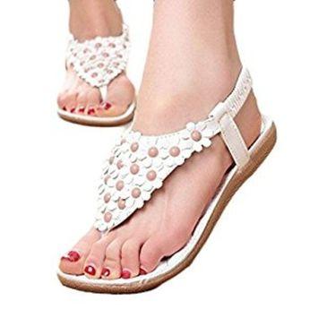 Voberry® 1 Pair Women's Fashion Sweet Summer Bohemia Sweet Beaded Sandals Clip Toe Sandals Beach Shoes Herringbone Sandals Shoes