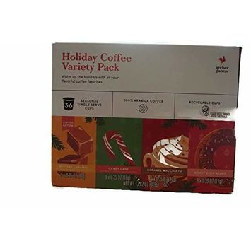Archer Farms Holiday Coffee Variety Pack K-cups - 36 Seasonal Single Serve Cups - Buttery Caramel, Candy Cane, Caramel Macchiato, Donuts Shop Blend