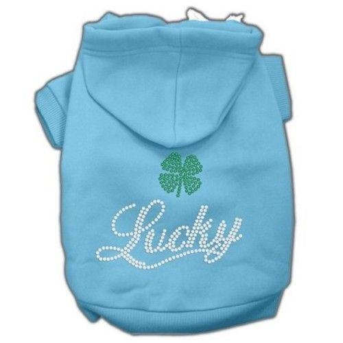 Mirage Pet Products Lucky Rhinestone Hoodies, Baby Blue, X-Large/Size 16