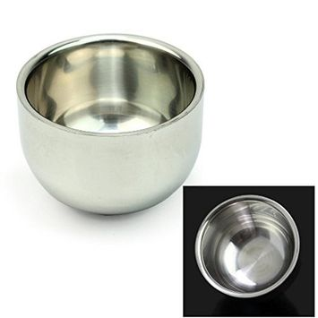 Healthcom Men's Durable Shave Soap Cup Shinning Stainless Steel Heat Insulation Shaving Mug Bowl