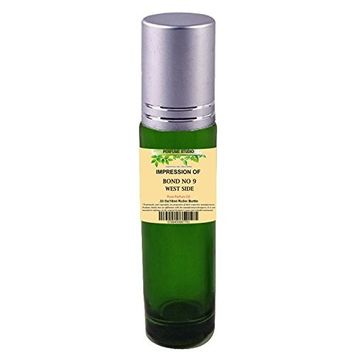 Perfume Studio Superior IMPRESSION of B9 West Side Perfume; 10ml Green Glass Roller, Silver Cap, 100% Pure-No Alcohol Top grade Oil (West Side Perfume Oil VERSION/TYPE; Not Original Brand)