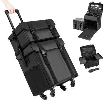 GHP Black Oxford Cloth & Plastic Durable Double-Open Design Cosmetic Travel Storage Box