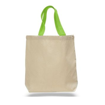 TBF - (12 Pack) Set of 12 Cotton Canvas Gusset and Contrasting Handles Tote Bag (Lime) [name: actual_color value: actual_color-lime]