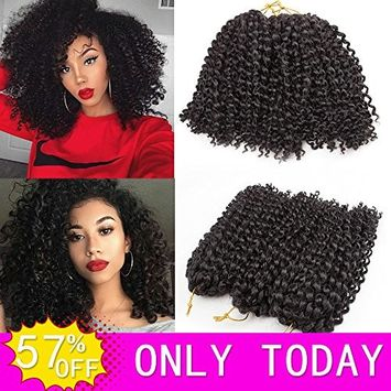 HVAXING 8 inch Short Marlybob Crochet Braiding Hair Extensions 3 Bundles Afro Kinky Curly Synthetic Spring Twist Hair Braids Low Temperature Fiber (Natural Black,1B)