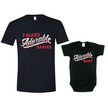Texas Tees Brand: Gift for New Dad, I Make Adorable Babies Shirt Set, Mens Lg Shirt & 3-6 mo