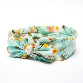 Ta-da™ Girls' Fabric Bow Head Wrap Turquoise Floral 1 ct