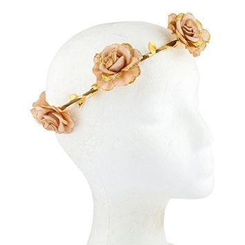 Lux Accessories Gold Tone Flesh Glitter Floral Goddess Boho Chic Head Crown