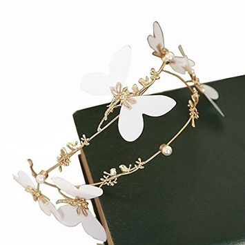 1PC Yellow With White Butterfly Flower Simplicity Retro Bride Girl Hair Hoop Hairband Headdress Crystal Pearl Headband With Hairband Hair Accessory For Wedding Or Party Daily Wear