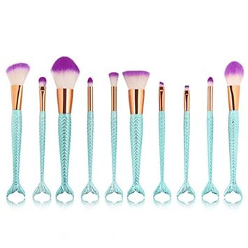 Doinshop 10PCs Makeup Brush Set Synthetic Kabuki Foundation Blending Blush Eyeliner Face Powder Brush Makeup Brush Kit Beauty Cosmetic Tools
