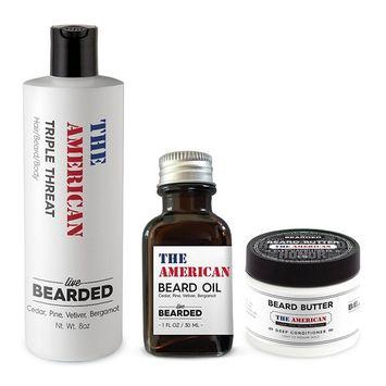Beard Kit - True Beardsman (Beard Oil, Beard Butter, and Beard Wash) Cleans, Conditions, and Shapes Your Beard (Campfire Fragrance - The American)Pine, Cedar, Vetiver, Bergamont Beard Kit   Live Beard