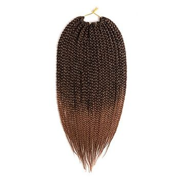 Una 18Inch Crochet Braids Box Braids (3 Pieces,20Root/Piece) Crochet Box Braiding Hair Extension (T 1B/30)