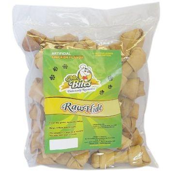 Mr Bites 4-Inch Rawhide Bone for Dogs, Chicken Flavor, 24-Pack