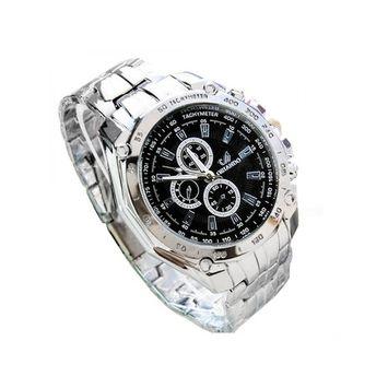 unbrand - Men's Fashion Stainless Steel Belt Sport Business Quartz Watch Wristwatches HFON [name: actual_color value: actual_color-black]
