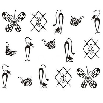 1 Sets Black Necklace Nail Art Stickers Manicure Water Transfer Nails Wrap Paint Tattoos Stamp Plates Templates Tools Tips Kits Exquisite Popular Xmas Holidays Stick Tool Vinyls Decals Kit, Type-13