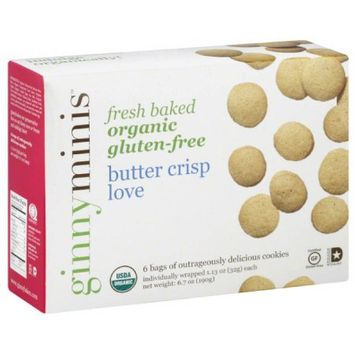 Ginnybakes Ginnyminis Butter Crisp Love Cookies, 1.13 oz, 6 count, (Pack of 12)
